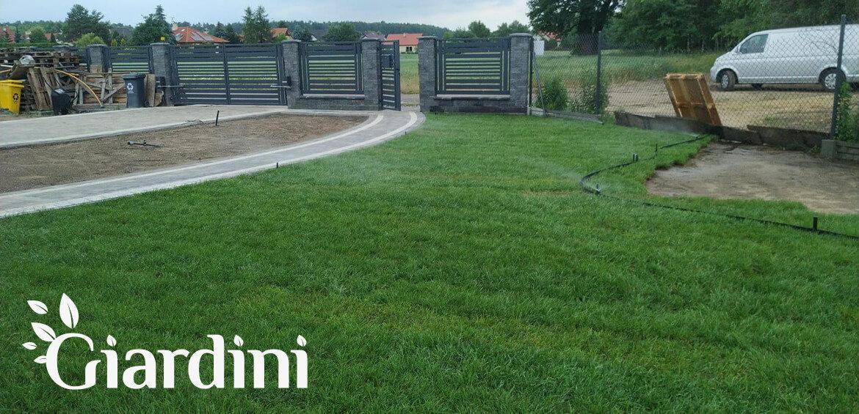 Giardini Metamorfoza ogrodu - Trawnik z rolki i system nawadniania