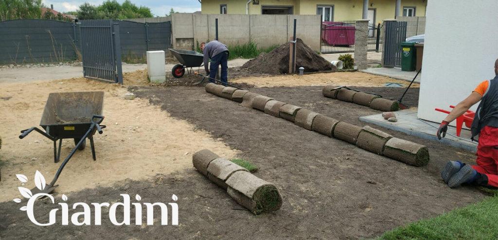 Giardini - wyznaczenie rabat ogrodowych i założenie trawnika z rolki